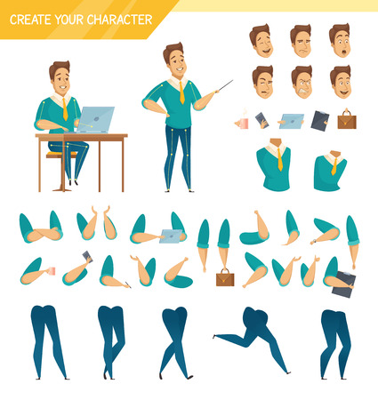 Office male worker character creator constructor elements collection with hands legs heads and accessories isolated vector illustration 일러스트