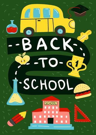 Terug gekleurd naar de achtergrond van de schoolaffiche met kinderen die op een vectorillustratie van het schoolthema trekken Stock Illustratie