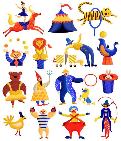 Collection d'artistes de cirque, y compris cavalier, clowns, illusionnistes avec des astuces, homme fort, animaux formés, illustration vectorielle isolée Banque d'images - 84584140