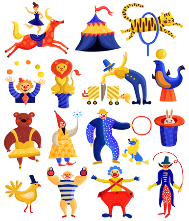 Collection of circus artists including horse rider, clowns, illusionists with tricks, strongman, trained animals isolated vector illustration Фото со стока - 84584140