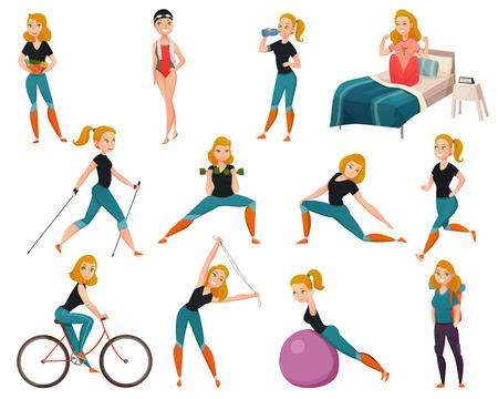 女性と設定色と分離の健康的なライフ スタイルのアイコンは、スポーツのベクトル図のために行く