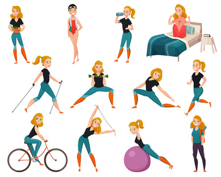 Colored and isolated healthy lifestyle icon set with woman goes in for sports vector illustration
