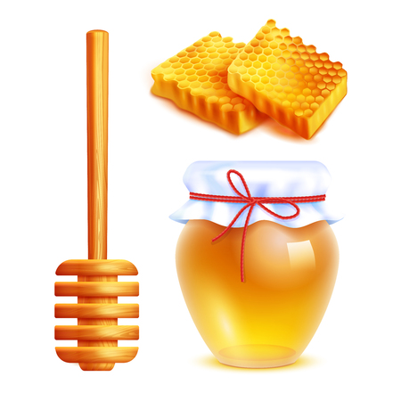 Honey realistic icons set with wooden dipper stick glass jar filled with yellow honey and honeycombs in shape of rectangle isolated vector illustration Çizim