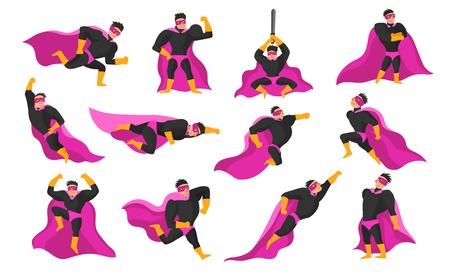 Set van superheld acties en emoties, waaronder vliegen, rennen en vechten, woede en vreugde geïsoleerde vectorillustratie
