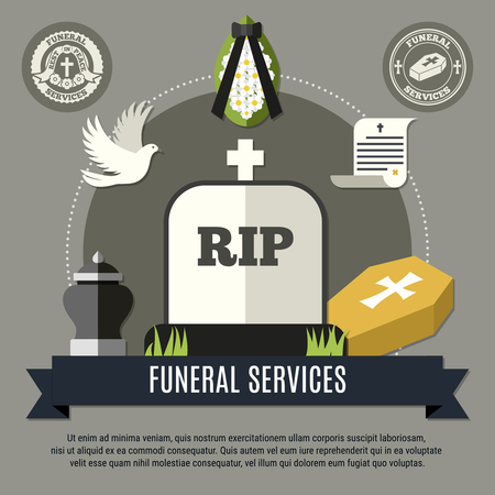 Funeral services concept with wreath tomb and dove flat vector illustration