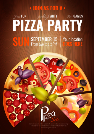 Party poster with slices of different pizza types on wooden background with editable title and date vector illustration Çizim