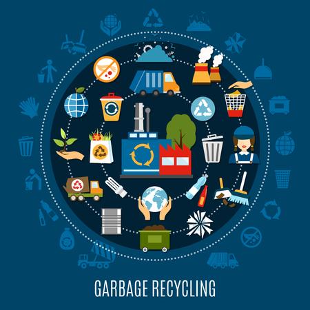 Müll Recycling Kreis Zusammensetzung mit isolierten Silhouette Symbole und Abfall Behandlung Piktogramme entlang konzentrischen Kreisen Vektor-Illustration Standard-Bild - 84584176