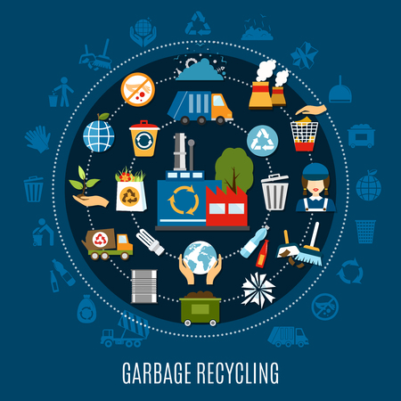 Garbage recycling circle composition with isolated silhouette icons and waste treatment pictograms located along concentric circles vector illustration