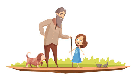Old man senior character with cane walking with little girl and doggy outside retro cartoon poster vector illustration Illustration