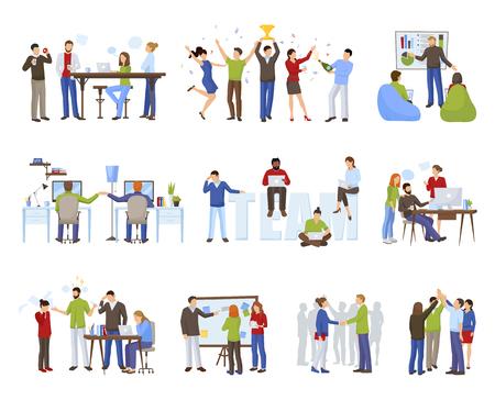 Bedrijfsgroepswerkpictogrammen met coworking symbolen vlak geïsoleerde vectorillustratie worden geplaatst die Stock Illustratie
