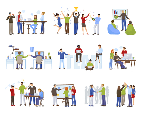 Business teamwork icons set with coworking symbols flat isolated vector illustration Illustration
