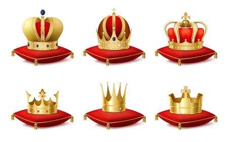 Corona reale araldica su cuscini realistico impostato isolato illustrazione vettoriale Archivio Fotografico - 84584179
