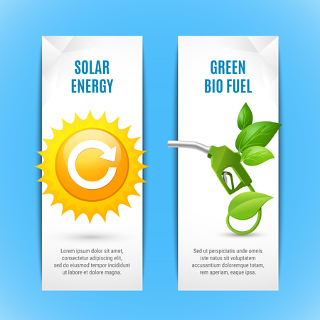 Ecology vertical banners in paper style with solar energy and green bio fuel realistic compositions vector illustration Иллюстрация