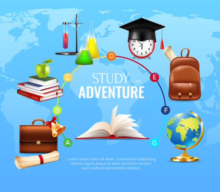 Study and learning concept with school and university symbols cartoon vector illustration