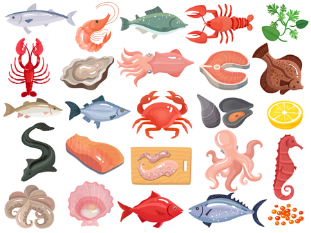 Seafood dinner menu items flat icons big set with crab crayfish oyster mollusk tuna salmon vector illustration Illustration