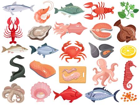 Zeevruchten dinermenu items plat pictogrammen grote set met krab rivierkreeft oester weekdier tonijn zalm vectorillustratie Stock Illustratie