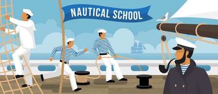 Nautical school on board sailing ship sailors training  flat advertisement poster with smoking pipe captain vector illustration Vettoriali