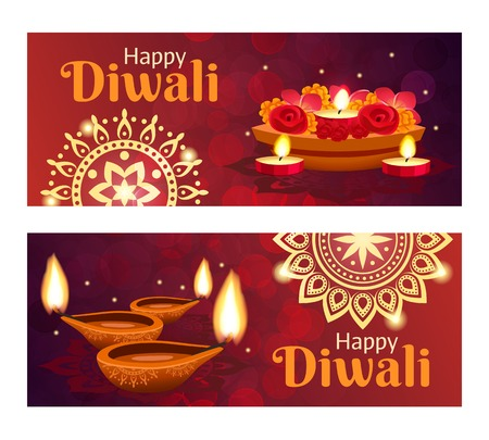 Beautiful happy diwali horizontal banners set with accessories for holiday realistic isolated vector illustration Çizim