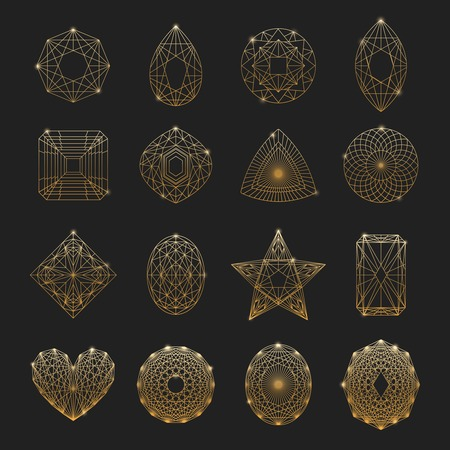 Gemstones linear icons set with different shape isolated vector illustration