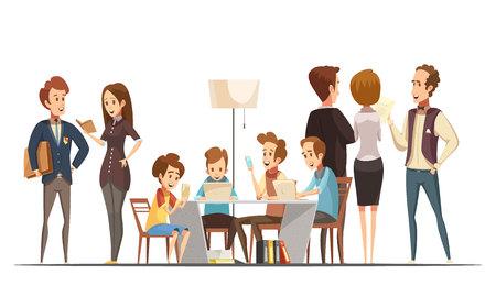 Teenager-Jungen sitzen mit Notebooks Laptops und Smartphones im pädagogischen Medienzentrum Poster Retro-Cartoon-Vektor-Illustration Vektorgrafik