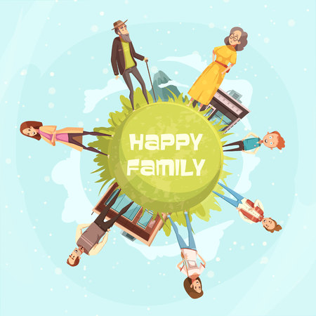 paper textures: Happy family circular background with relatives figurines of mother, father daughter son grandfather grandmother cartoon vector illustration