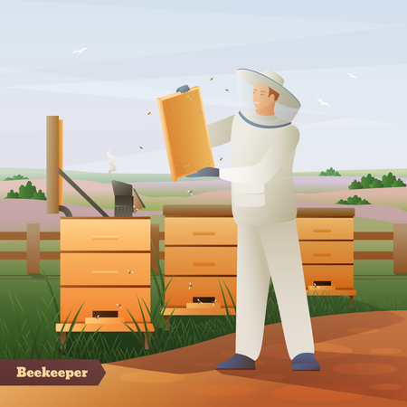 Imker in speciale uitrusting met honingraten in handen dichtbij bijenkorven op aard achtergrond vlakke samenstellings vectorillustratie