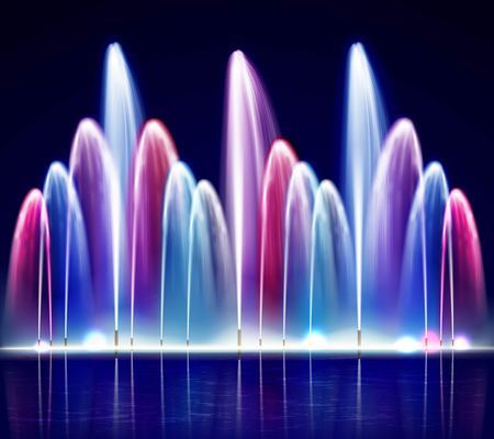 Lit night colorful fountain from water jets of various size on dark background realistic vector illustration