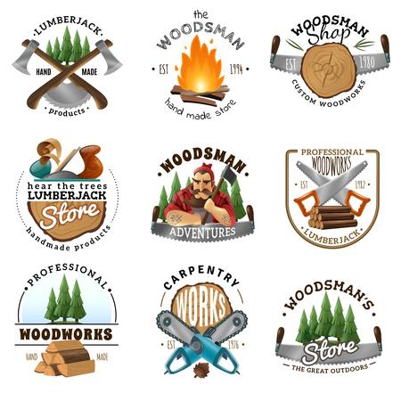 Holzfäller Woodman Zimmerei 9 Etiketten Logo Embleme Design Sammlung mit Axt Säge Lagerfeuer isoliert Vektor-Illustration Standard-Bild - 84584199
