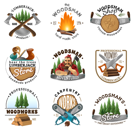 Lumberjack woodsman carpentry shop 9 labels logo emblems design collection with ax saw campfire isolated vector illustration Ilustração