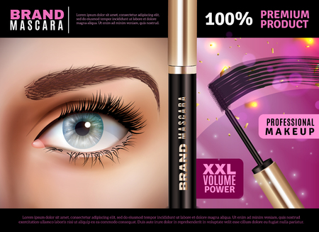 Mascara design background with female eye after applying professional make-up and mascara applicator with text vector illustration