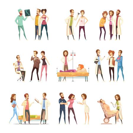 De karakters decoratieve die pictogrammen van het verpleegstersbeeldverhaal met patiënten worden geplaatst die in medische hulp en verpleegsters vergen die behandelingen vlakke vectorillustratie verstrekken