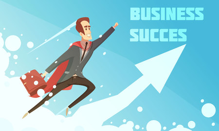 Business success symbolic cartoon growth poster with smiling businessmen climbing up increasing graphic arrow background vector illustration Illustration