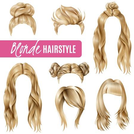 Conjunto de peinados para mujeres rubias con cortes de pelo elegantes y cabello largo, hebras trenzadas aisladas ilustración vectorial