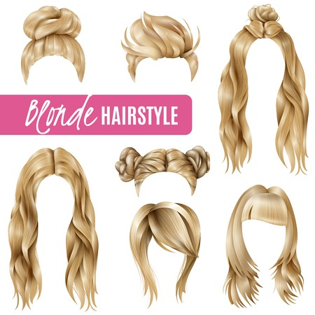 Set of coiffures for blond women with stylish haircuts and long hair, braided strands isolated vector illustration Illustration
