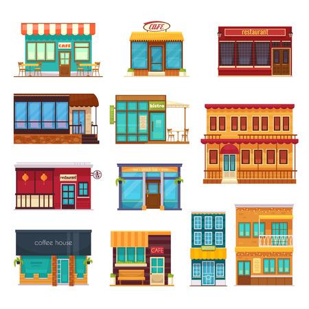 ストリート ビュー フロント スナックバー カフェ コーヒー家ビストロ レストラン フラット アイコン コレクション分離ベクトル図