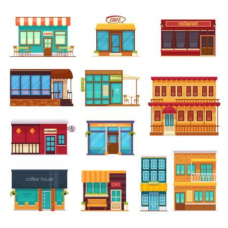 Street view front snack bar cafe coffee house bistro restaurant flat icons collection isolated vector illustration Illustration