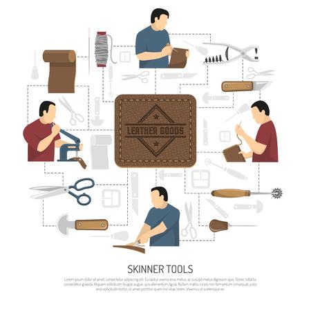 Skinner 도구 의류 항목 및 액세서리 플랫 벡터 일러스트 레이 션의 제조에 종사하는 스킨 너 인형 디자인 개념 일러스트