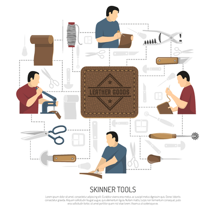 Skinner tools design concept with skinner figurines engaged in manufacture of clothing items and accessories flat vector illustration
