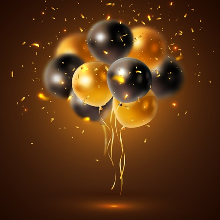 Glossy balloons composition with a bunch of sleek black and yellow balloons with golden sparkles vector illustration