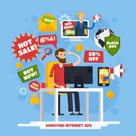 Colored annoying intrusive advertisement orthogonal composition with annoying internet ads and angry user vector illustration Ilustrace