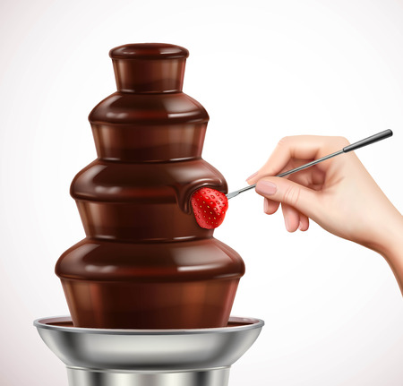 Colored realistic with dip strawberry into chocolate fountain composition or chocolate fondue vector illustration Ilustração
