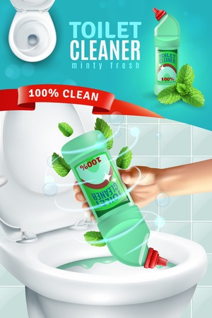 Realistic fresh fragrance toilet cleaner composition vertical advertising poster with human hand applying cleaner to toilet bowl vector illustration