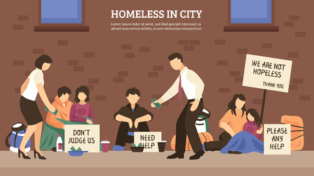 Homeless people town composition with homeless in city headline and different people who live on the street vector illustration Illustration