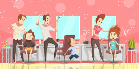 Hair salon background with ckids hairdo and hairdresser flat isolated vector illustration
