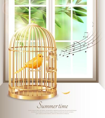 Kanarie die in gouden birdcage met muzieknota's zingen in de zomertijd op achtergrond van venster vectorillustratie Stock Illustratie