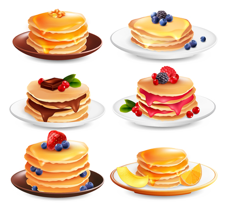 Maple syrup pancakes set of six isolated dish images with different ingredients berries and fruit slices vector illustration