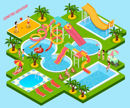 Colored water park aquapark isometric composition looks like a piece of island vector illustration Illustration