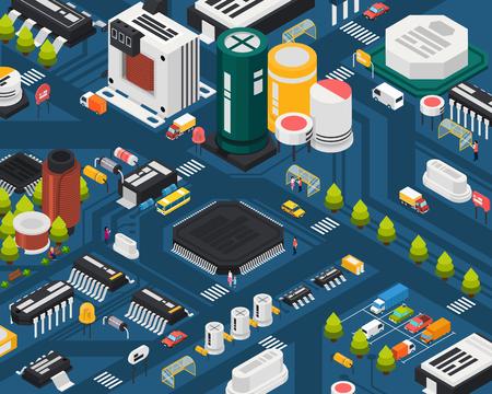 Composants électroniques à semiconducteurs colorés Concept de ville isométrique avec différents éléments combinés dans l'illustration vectorielle de la ville Vecteurs
