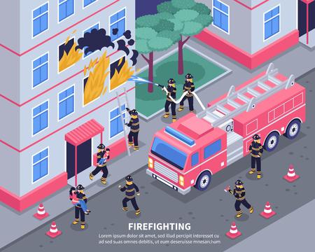 消防士のグループは火3d アイソメベクトルイラストを出す