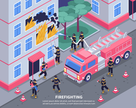 Group of firefighters putting out fire 3d isometric vector illustration Ilustração